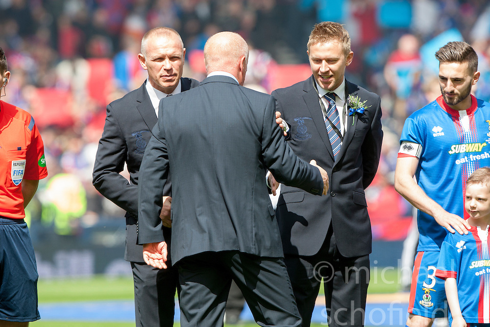 Inverness Caledonian Thistle's manager John Hughes with Falkirk's manager Peter Houston. Falkirk 1 v 2 Inverness CT, Scottish Cup final at Hampden.
