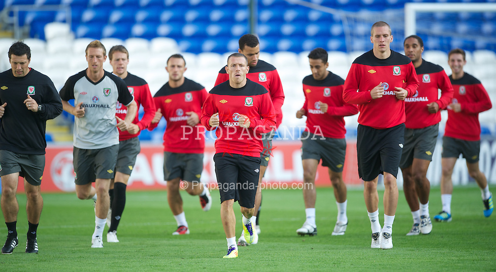 CARDIFF, WALES - Tuesday, August 9, 2011: Wales' Craig Bellamy during a training session at the Cardiff City Satdium ahead of the International Friendly match against Australia. (Photo by David Rawcliffe/Propaganda)