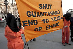 © Licensed to London News Pictures. 07/01/2012. London, U.K.. .London Guantanamo campaign hold a rally in Trafalgar Square to mark the 10th anniversary of the US prison camp in Cuba.  Speakers include Lib Dem MEP Sarah Ludford, Stop the War coalition campaigners are present and the CND..Photo credit : Rich Bowen/LNP