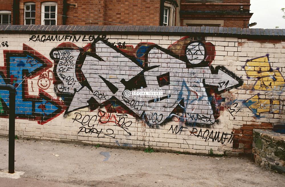 Graffiti on brick wall,