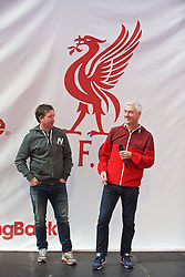 LIVERPOOL, ENGLAND - Friday, April 10, 2015: Former Liverpool players Robbie Fowler and Ian Rush on stage during the launch for the New Balance 2015/16 home kit at Anfield. (Pic by David Rawcliffe/Propaganda)