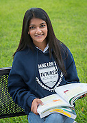 Jane Long Futures Academy student Kinza Rizwan poses for a photograph at the Houston Community College Northeast campus, October 9, 2014.