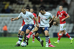 Luke Freeman of Bristol City challenges for the ball with Bailey Wright of Preston North End - Mandatory byline: Dougie Allward/JMP - 07966386802 - 15/09/2015 - FOOTBALL - Deepdale Stadium -Preston,England - Bristol City v Preston North End - Sky Bet Championship
