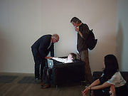 RICHARD WENTWORTH; ELLIOT ALYS; FRANCIS ALYS; , A story of Deception. Exhibition of work by Francis Alys. Tate Modern. London. 14 June 2010. -DO NOT ARCHIVE-© Copyright Photograph by Dafydd Jones. 248 Clapham Rd. London SW9 0PZ. Tel 0207 820 0771. www.dafjones.com.