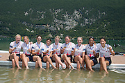 Aiguebelette, FRANCE GBR W8+ Bronze medallist. left to right, Polly SWANN, Caragh MCMURTRY, Rosamund BRADLEY, Zoe DE TOLEDO, Zoe LEE, Louisa REEVE Katie GREVES, Donna ETIEBET,and  Jessica EDDIE,  at the 2014 FISA World Cup II. 14:05:40  Sunday  22/06/2014. [Mandatory Credit; Peter Spurrier/Intersport-images]