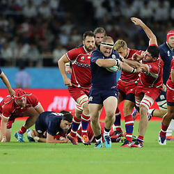 WP Nel - Scotland prop hands off Russia flanker Tagir Gadzhiev (7).<br />Scotland v Russia, Rugby World Cup, Pool A, Shizuoka Stadium, Ecopa, Shizuoka, Japan, Wednesday 9th October 2019. ***Please credit: Fotosport/David Gibson***