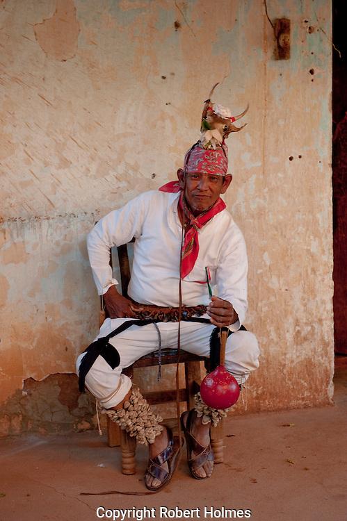 Mayo dancer in Caponos village, Copper Canyon, Mexico