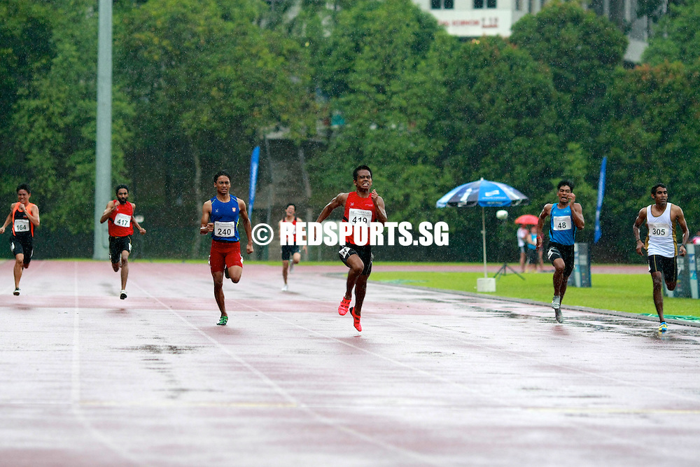Singapore Polytechnic, Saturday, January 11, 2014 &mdash; Muhammad Reyhan Amierul of Temasek Polytechnic was in scintillating form as he triumphed in the men&rsquo;s 400m final at the Institute-Varsity-Polytechnic (IVP) Track and Field Championships.<br />