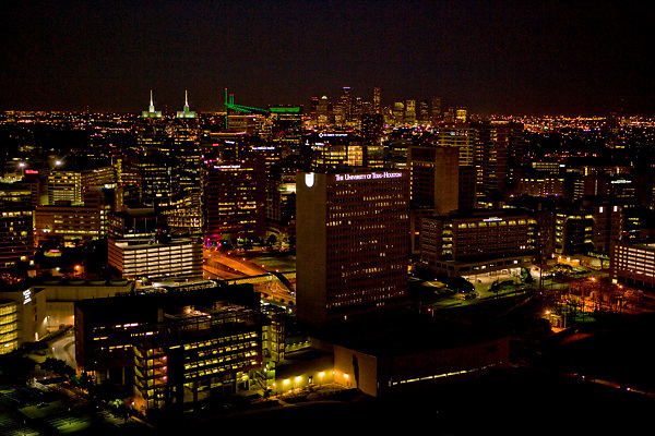 Night time aerial view of Texas Medical Center in Houston, Texas.