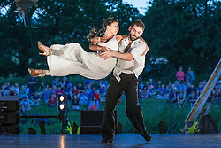 Image ©Licensed to i-Images Picture Agency. 17/07/2014. Henham Park, Suffolk, United Kingdom. Performance of contemporary Tango by Argentinean duo and World Tango Champions , German Cornejo and Gisela Galeassi , presented by Sadler's Wells during the Latitude Festival of music and arts . Picture by Joel Goodman / i-Images