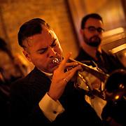 May 2, 2012 - Brooklyn, NY : Musician and composer Michael Arenella performs with his jazz band at the Clover Club, which is located at 210 Smith Street in Brooklyn, on Wednesday night. CREDIT:  Karsten Moran for The New York Times