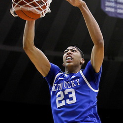 January 28, 2012; Baton Rouge, LA; Kentucky Wildcats forward Anthony Davis (23) dunks against the LSU Tigers during the first half of a game at the Pete Maravich Assembly Center.  Mandatory Credit: Derick E. Hingle-USA TODAY SPORTS