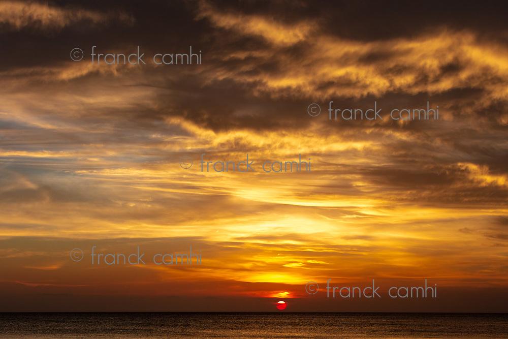 sunset over the sea at Kizimkazi in Unguja aka Zanzibar Island Tanzania East Africa