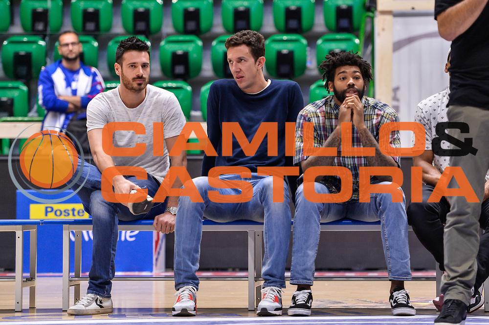 Lorenzo D'Ercole Giacomo Devecchi Travor Lacey<br /> Saluti Finali Banco di Sardegna Dinamo Sassari<br /> Legabasket Serie A LBA Poste Mobile 2016/2017<br /> Sassari 18/05/2017<br /> Foto Ciamillo-Castoria