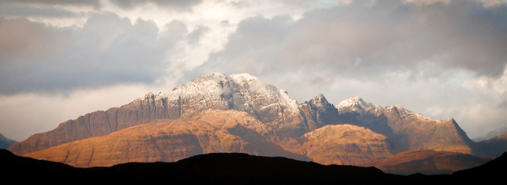 sunset on snow capped mountain, Isle of Skye, Scotland