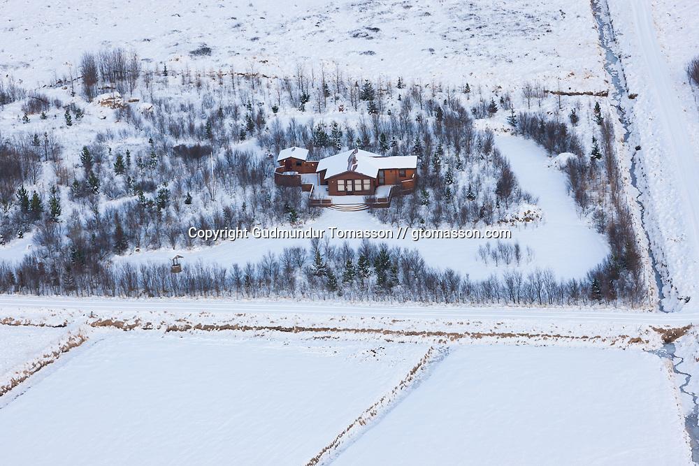 Iceland summer house at winter in Borgarfjörður.