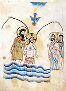 Baptism of Jesus by St John the Baptist. After Armenian Evangelistery (1319-20). Calligraphy and painting by Vardan.