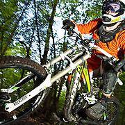 Downhill mountain biking shot on location in Slovenia. Lit using Broncolor Move 1200L