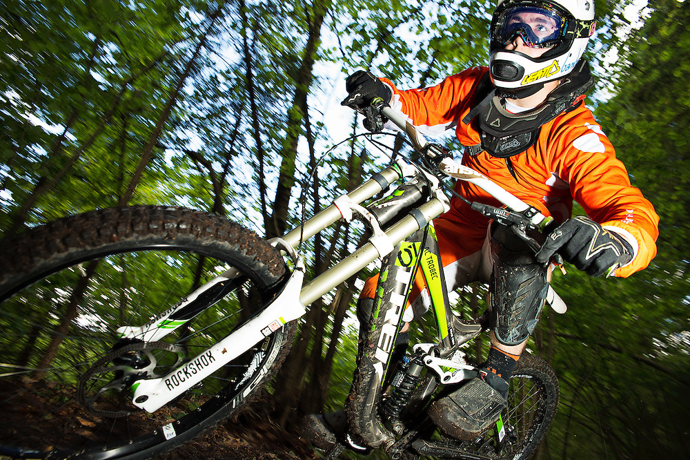 Downhill mountain biking shot on location in Slovenia. Lit using Broncolor Move 1200L