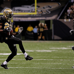 2009 November 02:  New Orleans Saints cornerback Tracy Porter (22) celebrates after a fourth quarter interception against the Atlanta Falcons during a 35-27 win by the Saints over the Falcons at the Louisiana Superdome in New Orleans, Louisiana.