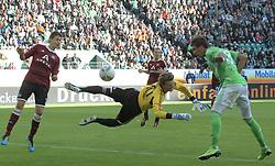 15.10.2011,Volkswagen Arena, Wolfsburg, GER, 1.FBL,VfL Wolfsburg vs 1. FC Nuernberg , im Bild .das 1:0 Kopfballtor durch Mario Mandzukic #18 gegen FC TW Alexander Stephan #30 und Philipp Wollscheid #38. // during the match from GER, 1.FBL, VfL Wolfsburg vs 1. FC Nuernberg  on 2011/10/15, Volkswagen Arena, Wolfsburg, Germany..EXPA Pictures © 2011, PhotoCredit: EXPA/ nph/  Rust       ****** out of GER / CRO  / BEL ******