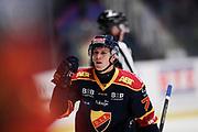 STOCKHOM 2017-10-27: Patrik Lundh i Djurg&aring;rdens IF jublar efter att ha gjort 2-0 under matchen i SHL mellan Djurg&aring;rdens IF och Skellefte&aring; AIK p&aring; Hovet, Stockholm, den 27 oktober 2017.<br /> Foto: Nils Petter Nilsson/Ombrello<br /> ***BETALBILD***