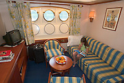 Suite Nr. 2. Living room...A river cruise from Moscow to St. Petersburg aboard MS Kazan, the most luxurious vessel (four star plus) operating in Russia. It is run by Austrian River Cruises under strictly Western standards, chartered - amongst others - by Club 50, a senior's travel agency based in Vienna.