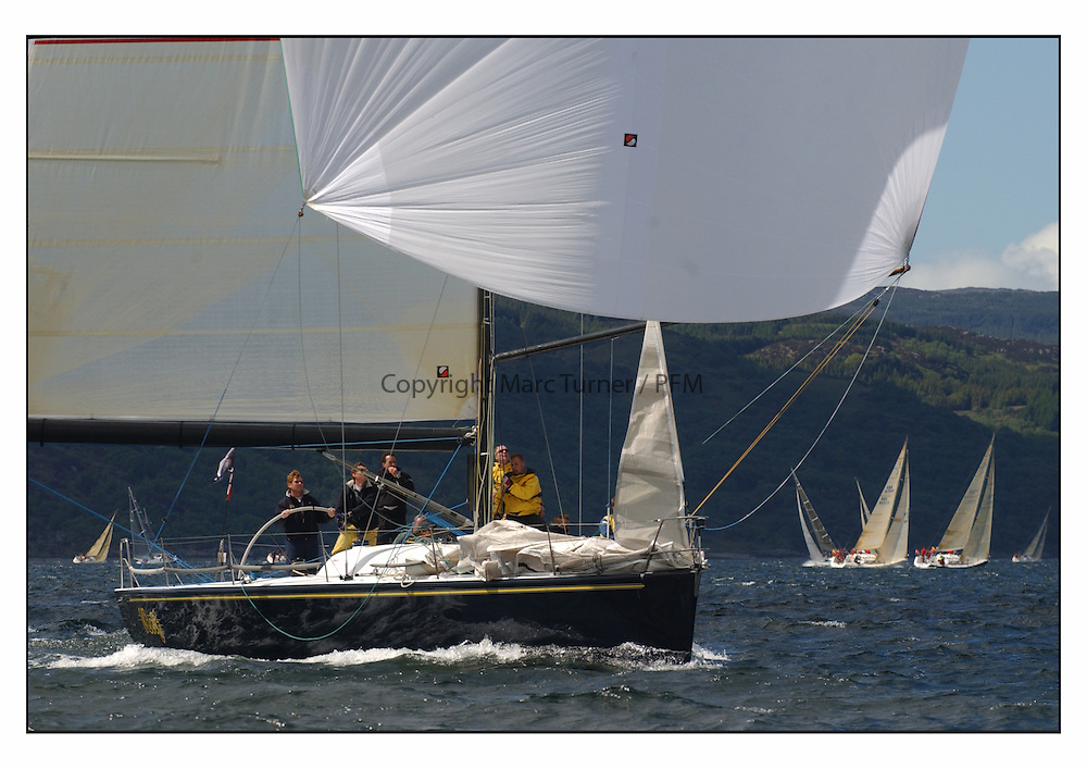 The third days racing at the Bell Lawrie Yachting Series in Tarbert Loch Fyne ..Perfect conditions finally arrived for competitors on the three race courses..GBR745R  Farr 45 Wolf,  Glynn Williams at the helm.