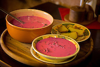 Vilnius, Lithuania- June 4, 2015: While many may be disuaded by the garish pink color, Lithuanian borscht, a traiditional cold beet soup, goes perfectly with the hot summer months. CREDIT: Chris Carmichael for The New York Times