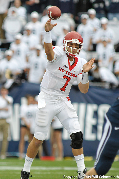 Oct 31, 2009; East Hartford, CT, USA; Rutgers quarterback Tom Savage (7) passes during first half Big East NCAA football action between Rutgers and Connecticut at Rentschler Field.
