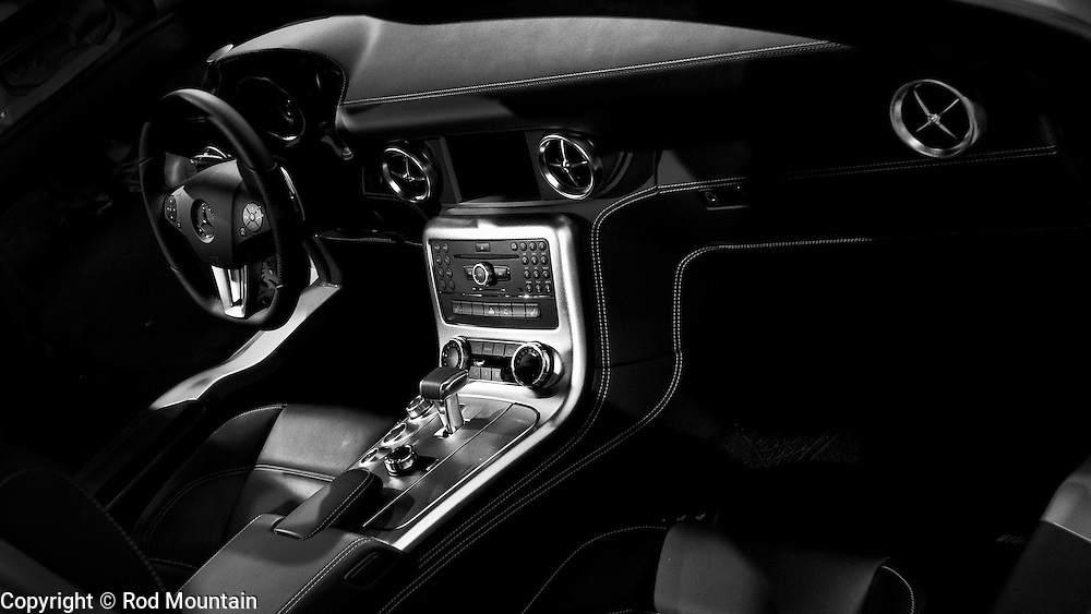 A Mercedes interior is shown in classic black leather. 2011 Vancouver International Auto Show (photo illustration)