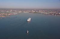 Arial photo of Cruise ship Carnival Pride and the schooner Pride of Baltimore II arriving Baltimore