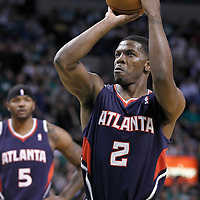 10 May 2012: Atlanta Hawks shooting guard Joe Johnson (2) is seen at the free throw line during the Boston Celtics 83-80 victory over the Atlanta Hawks, in Game 6 of the Eastern Conference first-round playoff series, at the TD Banknorth Garden, Boston, Massachusetts, USA.