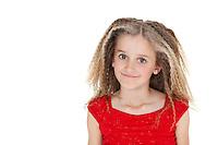 Portrait of happy school girl over white background