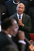 Democratic presidential hopeful Gov. Deval Patrick of Massachusetts reacts during the sermon by Bishop Rev. Samuel Green, during Sunday service at the historic Mother Emanuel AME Church January 1, 2020 in Charleston, South Carolina. The service celebrated Emancipation Day, marking the abolition of slavery in the United States.