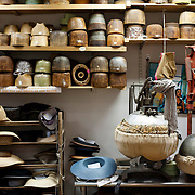 May 3, 2012 - Manhattan, NY : Blocks used to shape hats, as well as two presses, bottom right, line the shelves in the workroom at Worth & Worth, a men's and women's hat store located at 45 West 57th St. in Manhattan. CREDIT : Karsten Moran for The New York Times