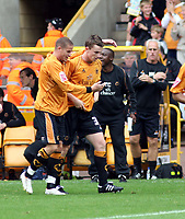 Photo: Mark Stephenson.<br /> Wolverhampton Wanderers v Norwich City. Coca Cola Championship. 22/09/2007.Wolve's Kevin Foley (2ed R ) celebrates his goal,as manager Mick McCarthy looks on