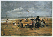 On the Beach', c1863. Oil on board: Eugene Boudin (1824-1898) French landscape and marine painter.  Women  sitting in chairs on the sand.