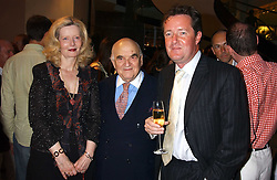 Left to right, LORD & LADY WEIDENFELD and PIERS MORGAN at a party to celebrate the publication of iPod, Therefore I am by Dylan Jones held at Asprey, 169 New Bond Street, London W1 on 14th July 2005.<br />