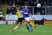 Ipswich Town defender Jonas Knudsen (3) passes as Burton Albion midfielder Matthew Lund (8) blocks the ball during the EFL Sky Bet Championship match between Burton Albion and Ipswich Town at the Pirelli Stadium, Burton upon Trent, England on 28 October 2017. Photo by Richard Holmes.
