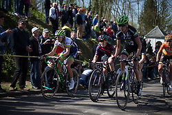 Tayler Wiles (USA) of Orica-AIS Cycling Team (left) and Tiffany Cromwell of CANYON//SRAM Racing (middle) ride the last few hundred metres of the Flèche Wallonne Femmes - a 137km road race from starting and finishing in Huy on April 20, 2016 in Liege, Belgium.