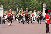 LONDON - JUNE 16: Prince William Duke of Cambridge; Charles Prince of Wales; Anne Princess Royal attend Trooping The Colour, Buckingham Palace, London, UK. June 16, 2012. (photo by piQtured)