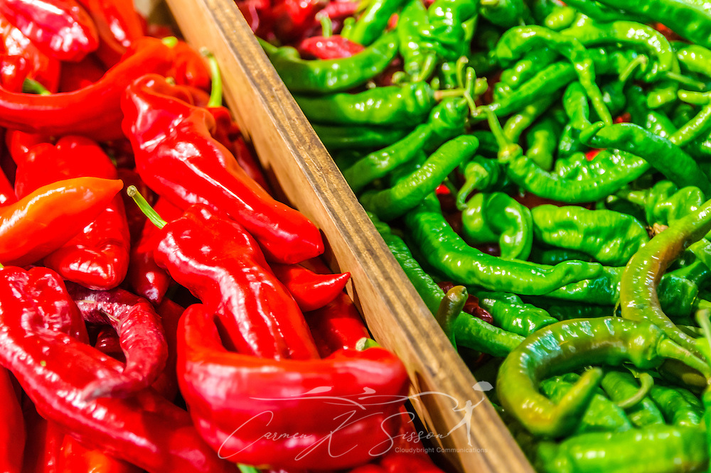 A wide variety of peppers, including Italian sweet peppers and long hot peppers, are displayed at Buford Highway Farmers Market in Doraville, Georgia, June 7, 2014. The international market carries a wide variety of items from Asia, Mexico, Central and South America, the Caribbean, West Africa, Eastern Europe and other countries. (Photo by Carmen K. Sisson/Cloudybright)
