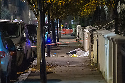 © Licensed to London News Pictures. 04/12/2019. London, UK. The scene where a man was shot. Evidence. Police were called to reports of gunshots heard on Walterton Road, in Maida Hill, shortly before 8:30pm on Tuesday. A man in his late teens was found with a gunshot injury. Photo credit: Peter Manning/LNP