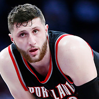 26 March 2016: Portland Trail Blazers center Jusuf Nurkic (27) rests during the Portland Trail Blazers 97-81 victory over the Los Angeles Lakers, at the Staples Center, Los Angeles, California, USA.