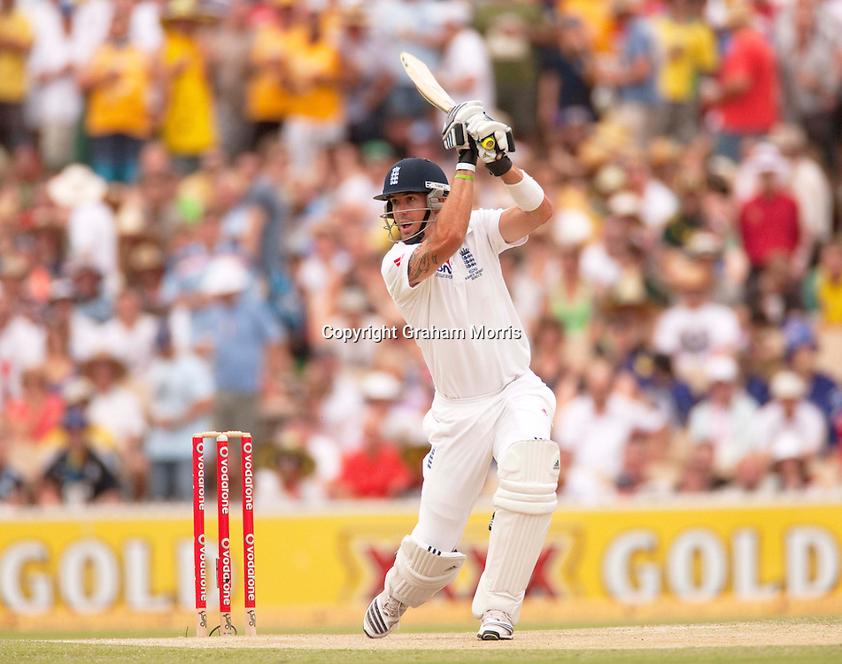 Kevin Pietersen bats during his century in the second Ashes Test Match between Australia and England at the Adelaide Oval. Photo: Graham Morris (Tel: +44(0)20 8969 4192 Email: sales@cricketpix.com) 5/12/10