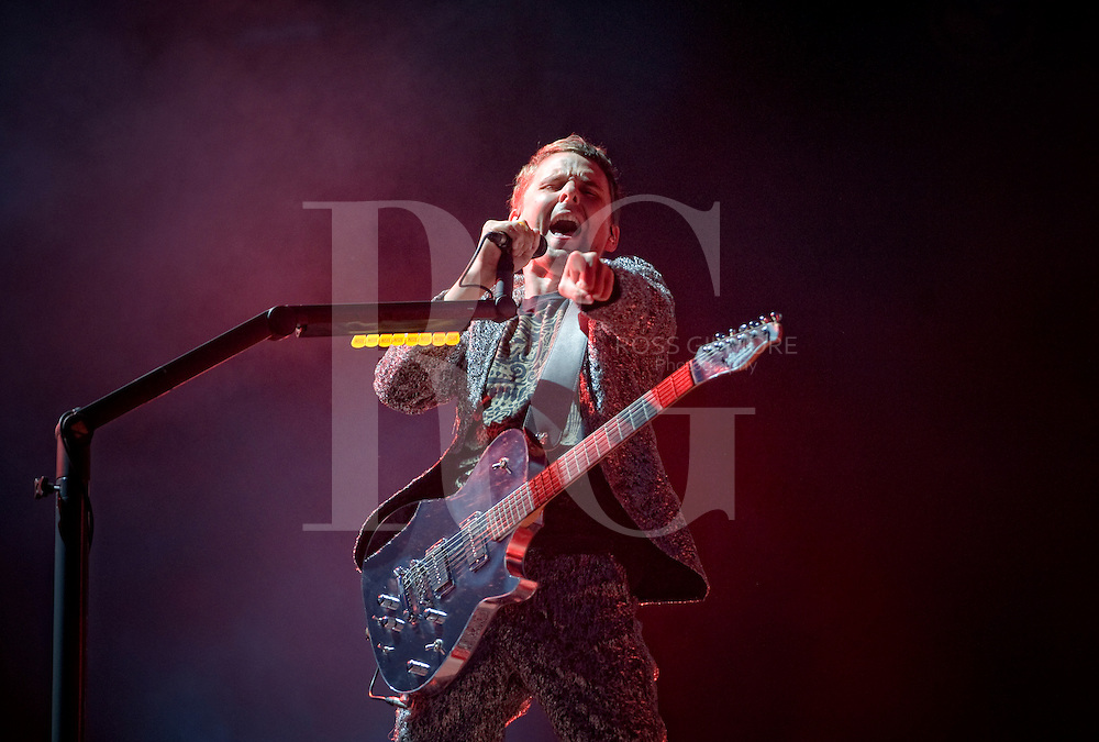 KINROSS, UNITED KINGDOM - JULY 11: Matthew Bellamy of Muse performs on the main stage during the third day of T In The Park Festival at Balado on July 11, 2010 in Kinross, Scotland. Photo by Ross Gilmore