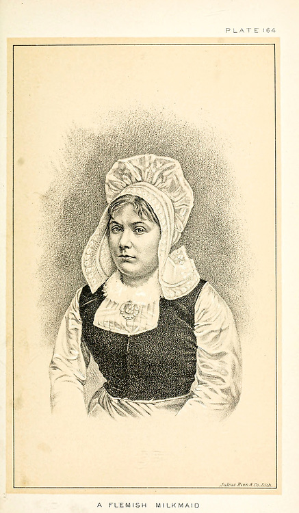 Portrait of a Flemish milkmaid in traditional clothes from Cattle and dairy farming. Published 1887 by Govt. Print. Off. in Washington. United States. Bureau of Foreign Commerce (1854-1903)