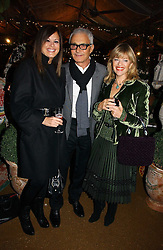 Left to right, VIDAL SASSOON and his wife RONNIE and designer EDINA RONAY at a party to celebrate the publication on 'A Year in My Kitchen' by Skye Gyngell held at The Petersham Nurseries, Petesham, Surrey on 19th October 2006.<br />