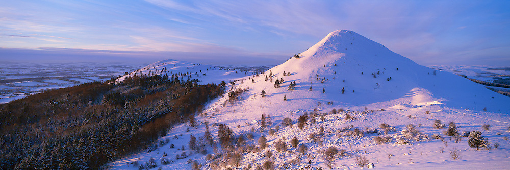 Eildon Hills in the Scottish Borders next to Melrose captured on an early winter dawn in December 2010